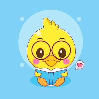 Schattige kleine eend lezen van een boek met glazen cartoon karakter illustratie