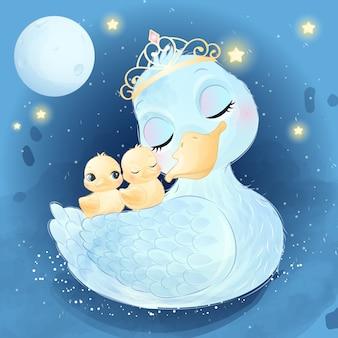 Schattige kleine eend moeder en baby