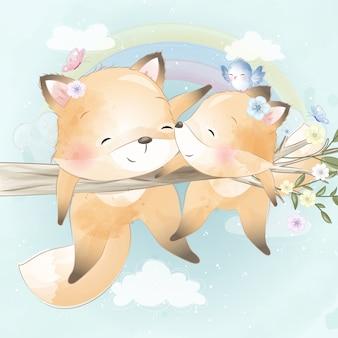 Schattige kleine foxy in de boom