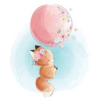 Schattige kleine foxy vliegen met ballon