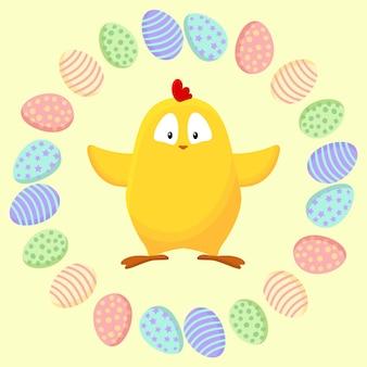 Schattige kleine gele kip in een krans van paaseieren