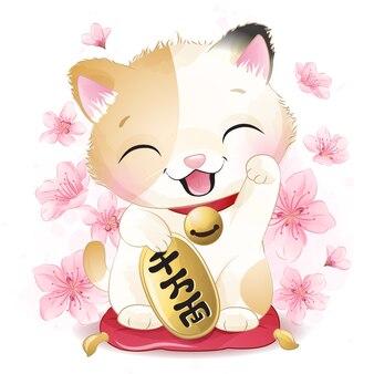 Schattige kleine gelukkige kat illustratie