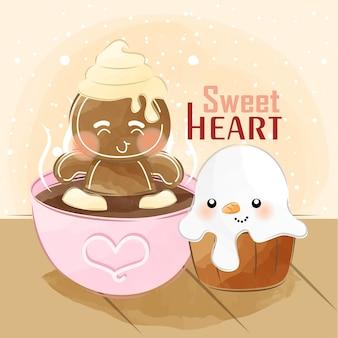 Schattige kleine gember op warme chocolademelk