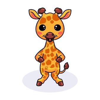 Schattige kleine giraf cartoon staande