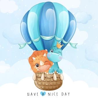 Schattige kleine giraf en dinosaurus vliegen met luchtballon illustratie
