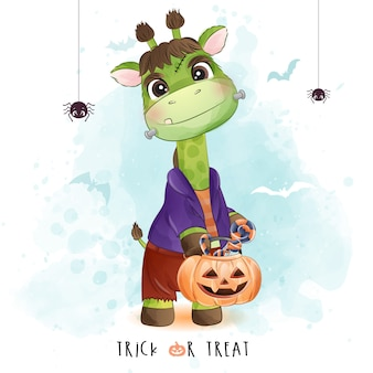 Schattige kleine giraf voor halloween-dag met aquarel illustratie