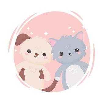 Schattige kleine grijze kat en hondje cartoon schattige dieren vector illustratie