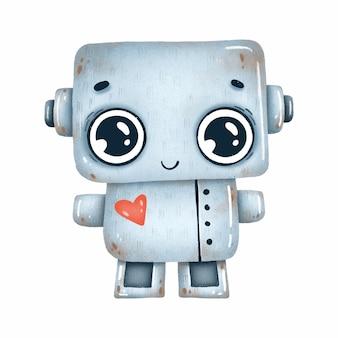 Schattige kleine grijze robot met rood hart op een witte achtergrond