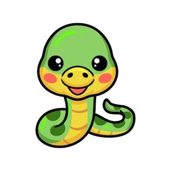 Schattige kleine groene slang cartoon
