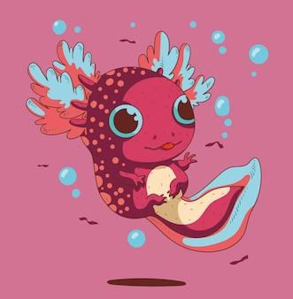 Schattige kleine grote ogen axolotl probeert een kleine vis te grijpen