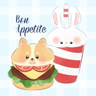 Schattige kleine hamburger en frisdrank in dierlijke illustratie