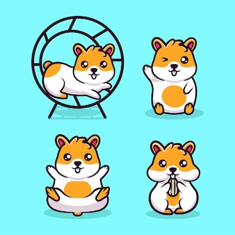 Schattige kleine hamster mascotte ontwerp