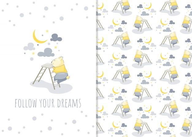 Schattige kleine hamster stripfiguur met maan, illustratie en naadloze patroon