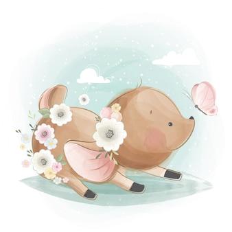Schattige kleine herten spelen met een vlinder