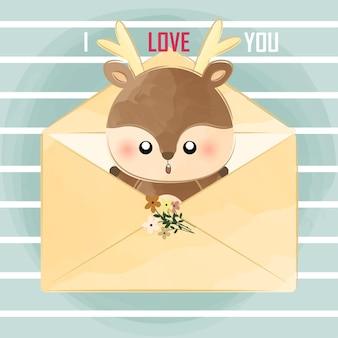 Schattige kleine herten uit envelop