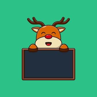 Schattige kleine herten vector illustratie ontwerp met schoolbord