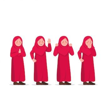 Schattige kleine hijab meisje uitdrukkingen karakter ontwerp