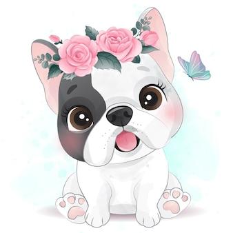 Schattige kleine hond met bloemen illustratie