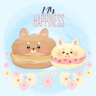 Schattige kleine hondjes als makarons illustratie
