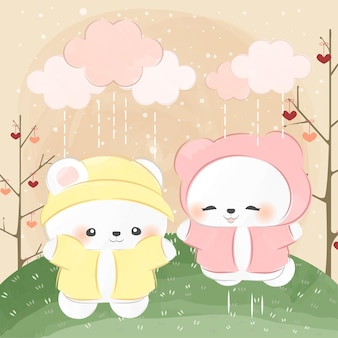 Schattige kleine ijsbeer en regenachtige dag