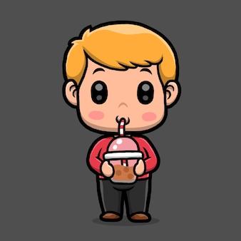 Schattige kleine jongen cartoon geïsoleerd op zwarte achtergrond.