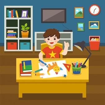 Schattige kleine jongen de afbeelding tekenen met kleurrijke potloden. jongen die schoolthuiswerk doet dat in woonkamer bestudeert. illustratie.