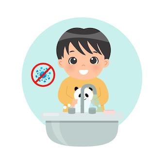 Schattige kleine jongen die zijn hand wast bij de gootsteen om bacteriën en coronavirus te voorkomen platte cartoonstijl geïsoleerd op wit