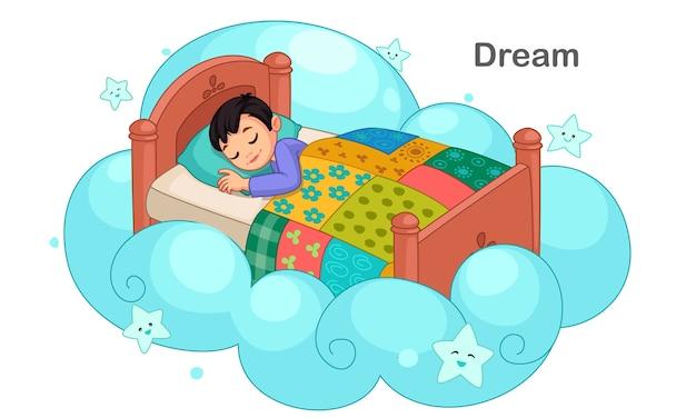 Schattige kleine jongen droomt illustratie