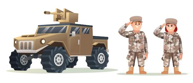 Schattige kleine jongen en meisje leger soldaat karakters met militair voertuig cartoon afbeelding