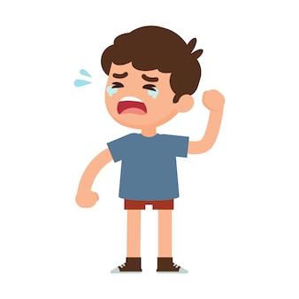 Schattige kleine jongen huilen