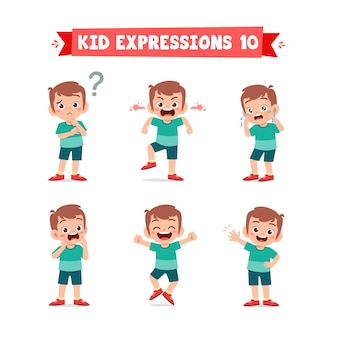 Schattige kleine jongen in verschillende uitdrukkingen en gebaren