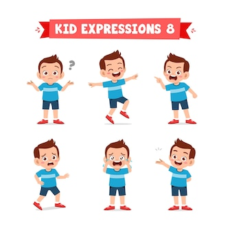 Schattige kleine jongen jongen in verschillende uitdrukkingen en gebaren