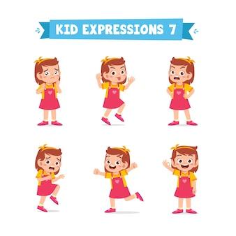 Schattige kleine jongen meisje in verschillende uitdrukkingen en gebaren