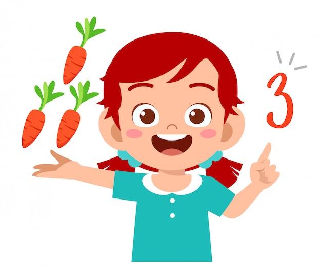 Schattige kleine jongen meisje studie wiskunde aantal tellen groente