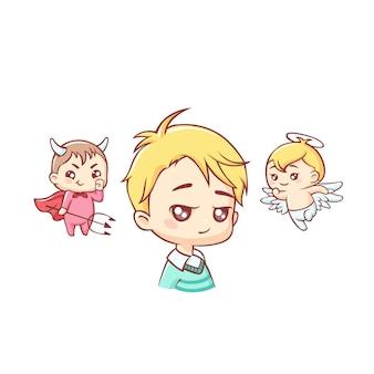 Schattige kleine jongen met engel en demon boven zijn hoofd