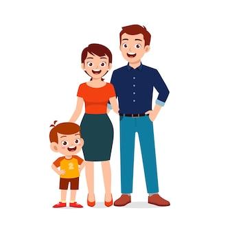 Schattige kleine jongen met pappa en mamma samen