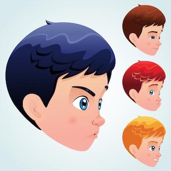 Schattige kleine jongen met set van gezichtsuitdrukkingen