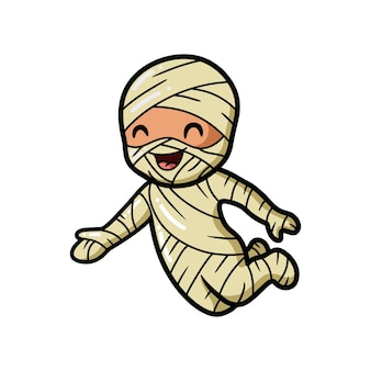 Schattige kleine jongen mummie cartoon presenteren