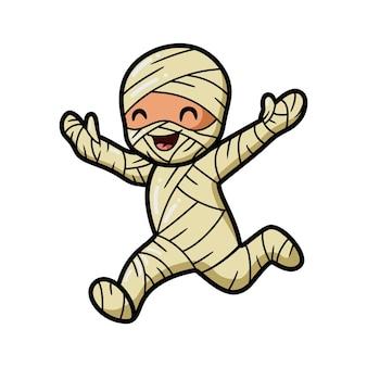 Schattige kleine jongen mummie cartoon rennen