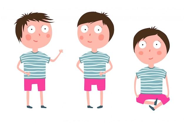 Schattige kleine jongen permanent zitten cartoon