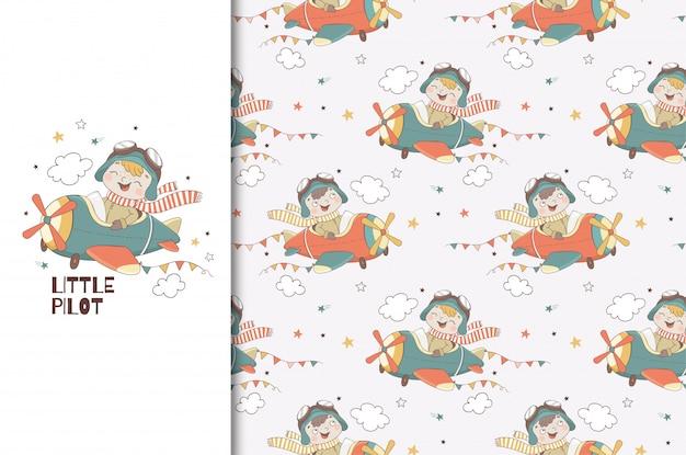 Schattige kleine jongen piloot karakter. kinderkaart afdruksjabloon en naadloos patroon. hand getekend ontwerp illustratie.