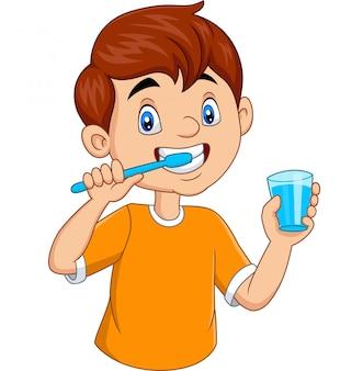 Schattige kleine jongen tanden poetsen