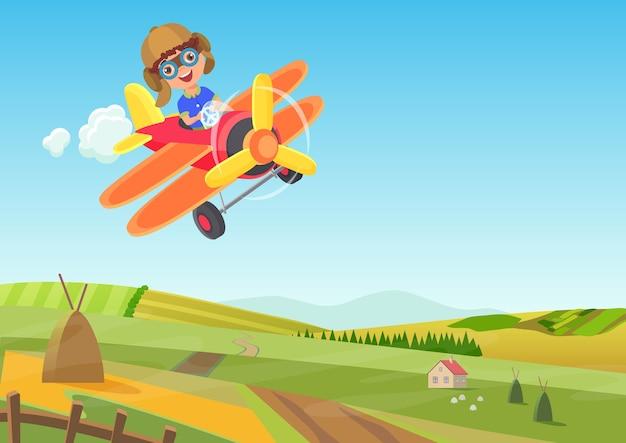 Schattige kleine jongen vliegen in vliegtuig boven de velden. grappige vliegende vliegtuig cartoon