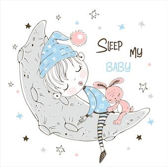 Schattige kleine jongen zoet slapen op de maan.