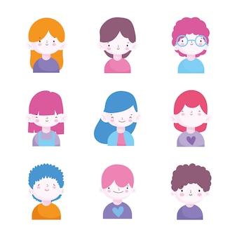 Schattige kleine jongens en meisjes tekens portret set