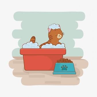 Schattige kleine kat mascotte karakter
