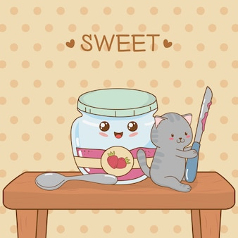 Schattige kleine kat met aardbei jam pot kawaii karakter