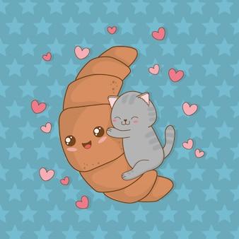 Schattige kleine kat met karakter van croissant kawaii