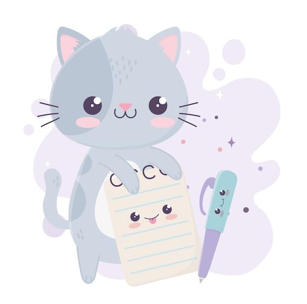 Schattige kleine kat met kladblok en pen kawaii stripfiguur