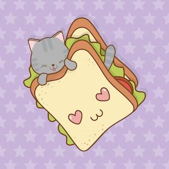 Schattige kleine kat met sandwich kawaii karakter